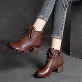 圓頭粗跟短靴 系帶中跟休閒短靴 真皮手工女鞋/2色-夢想家-標準碼-0727