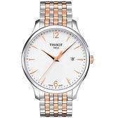◆TISSOT◆ Tradition 經典大三針薄型腕錶 T063.610.22.037.01 雙色