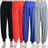 瑜伽服瑜伽褲子夏薄款莫代爾燈籠褲女運動瑜伽褲舞蹈服裝大碼長褲   (橙子精品)