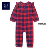 Gap女嬰兒 舒適格紋長袖一件式包屁衣 399401-摩登紅色