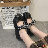 娃娃鞋 平底軟妹 小皮鞋 學院風 大頭娃娃鞋  單鞋蝴蝶