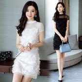 聖誕節交換禮物-晚宴聚會女裝小禮服短裙2018夏季新款白黑色洋裝伴娘服交換禮物