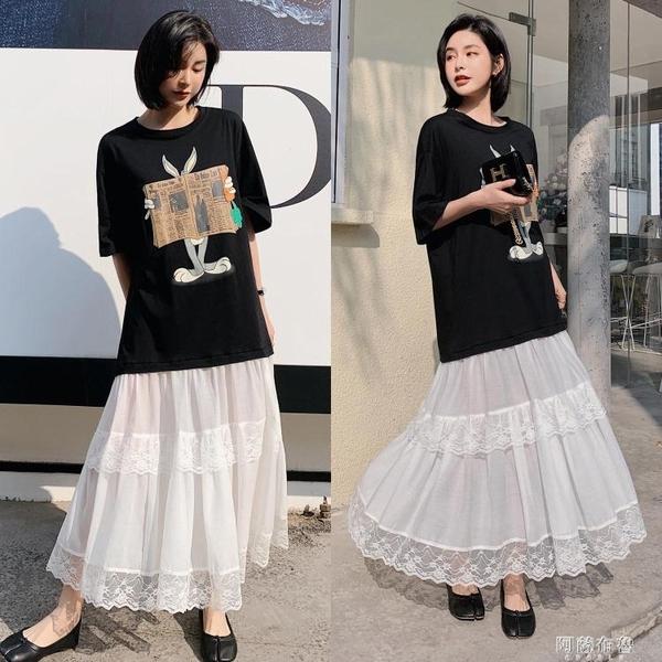 大碼短袖洋裝 Pink Daisy韓國東大門印花拼接蕾絲荷葉擺韓范長裙海邊度假連身裙 阿薩布魯