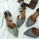 包頭一字扣羅馬涼鞋女細跟中跟小根中空女涼鞋顯瘦低跟涼鞋女 檸檬衣捨
