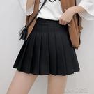 百褶裙短裙高腰黑色半身裙女夏a字裙新款半裙蓬蓬裙學生春秋 洛小仙女鞋