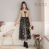 東京著衣【YOCO】女神風喇叭袖針織洋裝+黑紗裙兩件式套裝-S.M.L(172822)