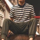 Polo衫日系新款潮條紋短袖polo衫男牛仔翻領短袖t恤修身保羅衫文藝聖誕交換禮物