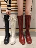 馬丁靴女2019秋冬新款高筒騎士靴膝上靴女粗跟長筒網紅瘦瘦靴子 台北日光