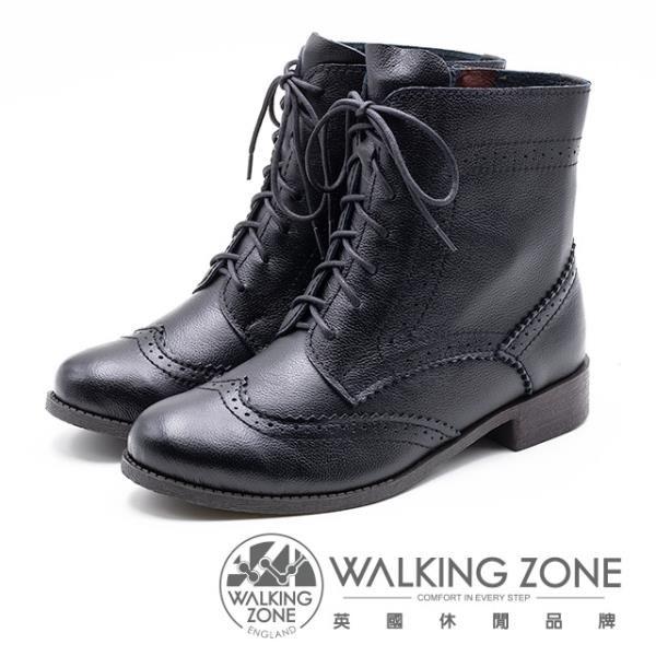 【南紡購物中心】【WALKING ZONE】經典牛津雕花休閒中筒 女靴-黑(另有咖)