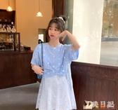 紫色打底衫上衣夏季2020新款韓版小雛菊網紗拼接假兩件短袖T恤女 KP631【花貓女王】