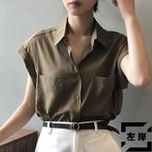 白色襯衫女夏季短袖設計感小眾輕熟薄款寬鬆復古港味無袖法式上衣【左岸男裝】