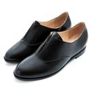 karine(MIT台灣製)全真皮2way無綁帶內增高牛津鞋-黑色