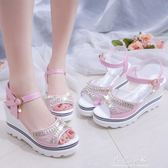 韓版2018春夏季新款坡跟魚嘴鞋羅馬涼鞋女鬆糕厚底學生鞋高跟鞋子 晴光小語