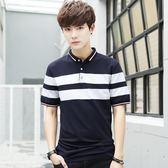 新款夏季男士短袖t恤韓版修身翻領polo衫條紋半袖休閒衣