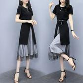 歐美風休閒M-2XL洋裝連身裙夏裝新款時尚開叉連衣裙網紗半身裙顯瘦兩件套NC319-F-1001