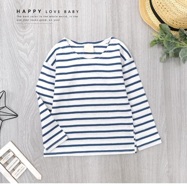 純棉 清新藍白條紋長袖上衣 簡約 條紋 百搭 男童裝 女童裝 男童上衣 女童上衣 秋冬上衣