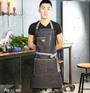 牛仔圍裙奶茶店工作圍裙歐式畫室咖啡廳定制logo花店畫畫廚房工作圍裙