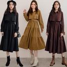 MIUSTAR 附腰帶!開襟前片造型康康絨布洋裝(共3色)【NH3196】預購