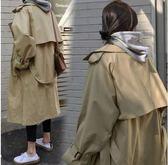 長版風衣外套開衫韓國韓系寬鬆過膝長款卡其色外套秋開叉風衣N705-D.6263韓依紡