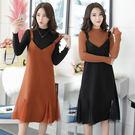 VK精品服飾 韓系休閒毛呢針織衫寬松吊帶裙套裝長袖裙裝