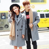情侶風衣外套中長款韓版呢子大衣秋冬季裝韓國一男一女毛呢外套叢林之家