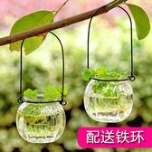 擺件 透明玻璃花瓶家居客廳創意擺件裝飾瓶干花插花水培小吊瓶 非凡小鋪