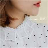 棉麻衫  小森童話蕾絲領點點棉麻襯衫   單色-小C館日系