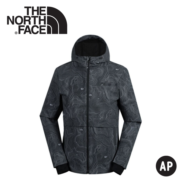 【The North Face 男 防風防潑外套《瀝青灰/地形圖》】3YVU/防潑水外套/防風外套/保暖外套