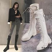 馬丁靴秋冬英倫風顯瘦加絨長筒靴女高筒靴子騎士靴女【時尚大衣櫥】