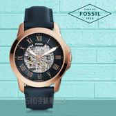 FOSSIL手錶專賣店 ME3102 鏤空羅馬數字機械男錶 皮革錶帶 藏青色錶面 防水50米 全新品 保固