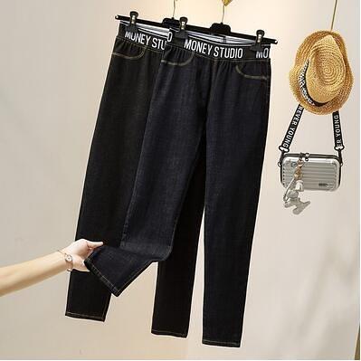 大碼鉛筆牛仔褲~鬆緊腰牛仔長褲~牛仔褲女顯瘦韓版大碼女裝200斤小腳褲6069.4F074愛尚布衣