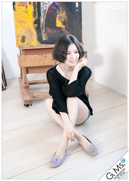 G.Ms. 流蘇全真皮平底莫卡辛豆豆鞋-粉紫