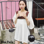 藍色巴黎 ★ 民族風U領刺繡寬鬆雪紡五分袖上衣《2色》【28188】