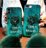 iPhone 7 Plus 祖母綠毛球 手機殼 腕帶掛繩 全包軟殼 防摔保護套 保護殼 氣囊支架殼 軟套 iPhone7