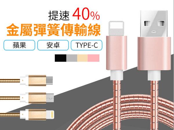 【AB821】 高速傳輸 金屬彈簧充電線  手機傳輸線 充電線 安卓 蘋果 Type-c 防纏繞 數據線