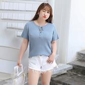 中大尺碼~胸前繫帶短袖上衣(XL~4XL)