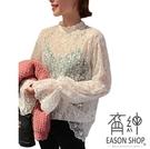 EASON SHOP(GW4817)韓版簡約滿版蕾絲紗網拼接小透視花邊高領長袖T恤女上衣服顯瘦內搭衫閨蜜裝杏色