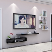 電視櫃壁挂組合現代中式客廳背景牆裝飾架簡易隔板置物架挂牆吊櫃