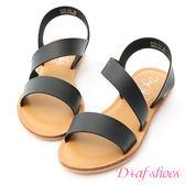 涼鞋 D+AF 漫步夏日.寬版斜帶設計平底涼鞋*黑