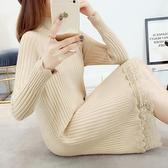 秋冬加厚蕾絲毛衣女中長款修身打底衫新款韓版假兩件套毛衣裙 優拓