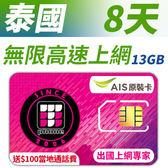泰國 8天無限上網 AIS當地原裝卡  插卡即用 贈送$100當地通話費 獨家優惠 贈送10GB 高速網路