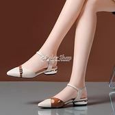 涼鞋女夏新款低跟百搭韓版粗跟一字扣帶平底包頭涼鞋 快速出貨