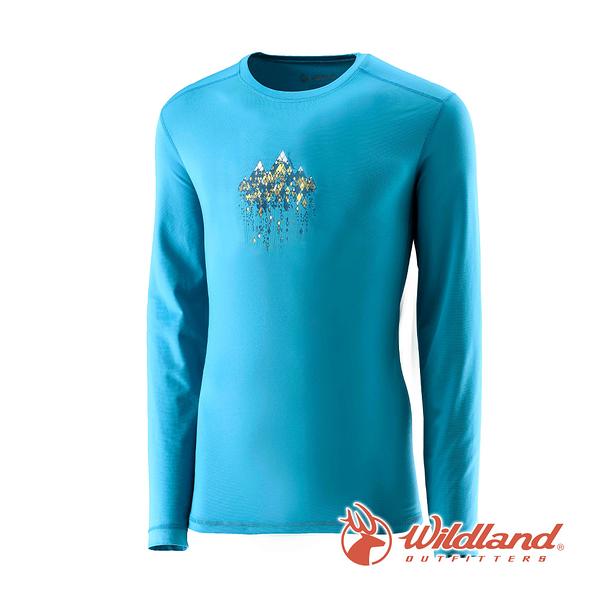 [Wildland] 荒野 (男) 遠紅外線印花保暖衣 湖水藍 (0A22660-65)