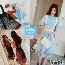 【V2345】shiny藍格子-春氛清新‧喇叭袖長版上衣吊帶網紗中長裙兩件式套裝