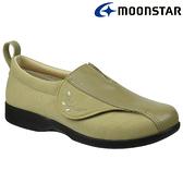 日本製造【MOONSTAR】Pastel 502女款健康照護介護鞋 - 卡其(3E超寬楦)