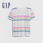 Gap女童棉質童趣刺繡圓領短袖T恤538278-多色條紋