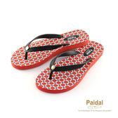 Paidal 亮彩紅色幾何格紋夾腳涼拖鞋