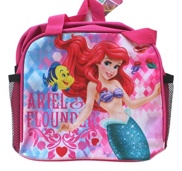 【卡漫城】 小美人魚 便當袋 單層桃紅 ㊣版 手提袋 拉鍊式 餐袋 Ariel 愛麗兒 Mermaid 公主
