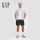 Gap男裝 亞麻混紡印花短袖襯衫 778182-白底條紋