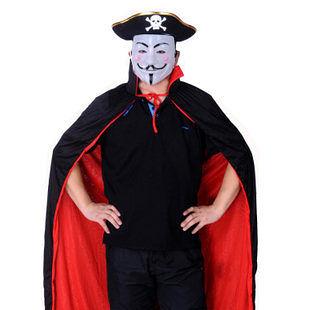 萬聖節服裝 大人|兒童黑紅披風+白色V字面具+扁海盜帽406